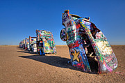 Automobile Framed Prints - Cadillac Ranch Framed Print by Peter Tellone
