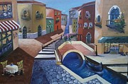 Bistro Paintings - Cafe by the canal by Sharu Anjirbag