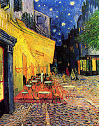 Place Du Forum Framed Prints - Cafe Terrace Place Du Forum At Night Framed Print by Vincent Van Gogh