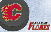 Puck Framed Prints - Calgary Flames Framed Print by Joe Hamilton