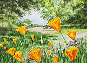 Birthday Cards Painting Originals - California Poppies by Irina Sztukowski