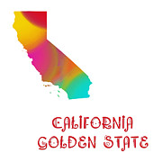 California State Map Digital Art - California State Map Collection 2 by Andee Photography