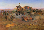 Western Western Art Prints - Camp Cooks Troubles Print by Charles M Russell