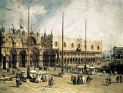 Piazza San Marco Framed Prints - Canaletto, Giovanni Antonio Canal Framed Print by Everett