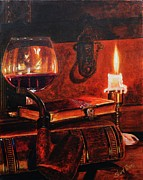 Candle Painting Originals - Candlelight and Brandy by Shirl Theis