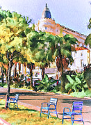 Old Town Digital Art Framed Prints - Cannes Carlton Hotel Framed Print by Yury Malkov