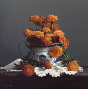 Traditional Prints - Canton Pitcher With Marigolds    Print by Larry Preston