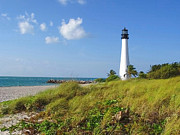 Cape Florida Lighthouse Posters - Cape Florida Lighthouse Poster by Ellen Henneke