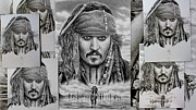 Pencil Portraits Drawings Posters - Captain Jack Sparrow Poster by Andrew Read