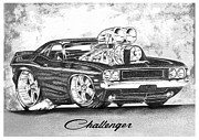Challenger Drawings - Car by Shayne Sadler