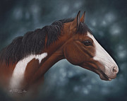 Red Horse Paintings - Cara Blanca by Ricardo Chavez-Mendez