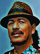 Shirt Digital Art Posters - Carlos Santana Poster by Byron Fli Walker