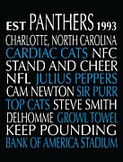 Charlotte Digital Art Posters - Carolina Panthers Poster by Jaime Friedman