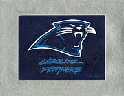 Panthers Painting Prints - Carolina Panthers Logo Print by Herb Strobino