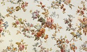 Pink Flowers Tapestries - Textiles Prints - Carpet design Print by English School