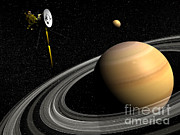 Three Dimensional Posters - Cassini Spacecraft Orbiting Saturn Poster by Elena Duvernay