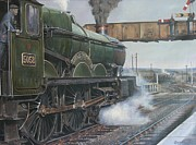 Steam Train Paintings - Castle class 4.6.0. by Mike  Jeffries