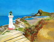 Pastel Paintings - Castle Point Lighthouse by Amber Nissen