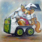 Machinery Painting Originals - Cat C5x 190312 by Selena Boron