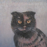 Tortie Paintings - Cat in France by Kazumi Whitemoon