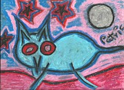 Moonlit Night Prints - Cat on a Starry Night Print by Patrick Edwards