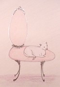 Interior Pastels Posters - Cat on a Vanity Chair Poster by Christine Corretti
