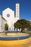 Anglican Prints - Cathedral and Tait Fountain Napier New Zealand Print by Colin and Linda McKie