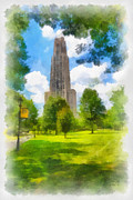 American Flag Digital Art - Cathedral of Learning University of PIttsburgh by Amy Cicconi