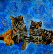 Mammals Glass Art Posters - Cats Poster by Betta Artusi