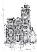 Genoa Prints - cattedrale di Genova Print by Luca Massone