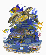 Triggerfish Painting Posters - Cayman Turtles Poster by Carey Chen