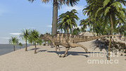 Running Digital Art - Ceratosaurus Running Across A Tropical by Kostyantyn Ivanyshen