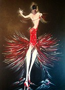 Swarovski Crystals Painting Originals - Cha cha cha by Diane Lane