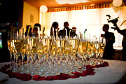 Champagne Metal Prints - Champagne glasses at the party Metal Print by Michal Bednarek