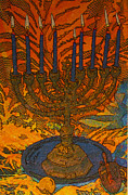 Menorah Mixed Media Prints - Chanukiah Print by Judith Rothenstein-Putzer