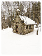 Wreath Framed Prints - Chapel in the Woods Stowe Vermont Framed Print by Edward Fielding