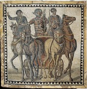 Roman Sport Posters - Chariot Race 3rd C.. Roman Art. Early Poster by Everett