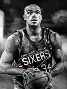 Sixers Framed Prints - Charles Barkley Framed Print by Michael  Pattison
