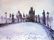Charles Bridge Painting Framed Prints - Charles bridge Framed Print by Igal Kogan