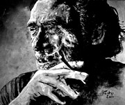 Chinaski Paintings - Charles Bukowski by Richard Tito