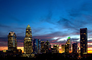 Charlotte Fine Art Framed Prints - Charlotte NC downtown at dusk Framed Print by Patrick Schneider