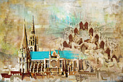 Centre Prints - Chartres Cathedral Print by Catf