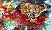 Cheetah Painting Prints - Cheetah Run Print by Aaron Pines