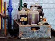 Chemistry Prints - Chemist - Bottles of Chemicals in a Wooden Box Print by Susan Savad