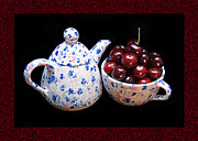 Teapot Digital Art Framed Prints - Cherries Invited To Tea Framed Print by Andee Photography
