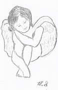 Religious Art Drawings - Cherub by Michael Snincsak