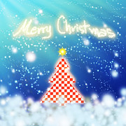Square Tapestries Textiles Originals - Chess Style Christmas Tree by Atiketta Sangasaeng