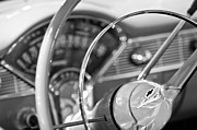 Steering Framed Prints - Chevrolet Belair Steering Wheel Emblem Framed Print by Jill Reger