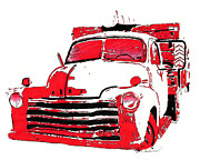 Chevrolet Truck Drawings - Chevy Truck by Robert Sneed