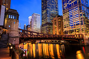 Architecture Art - Chicago at Night at Clark Street Bridge by Paul Velgos